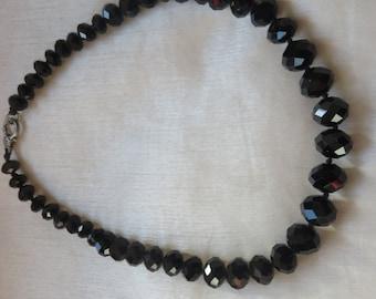Vintage black crystal necklace