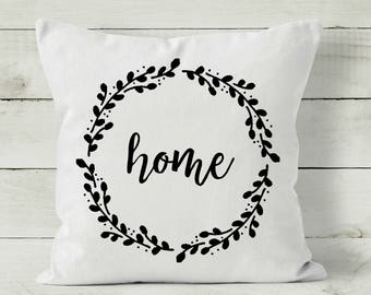 Housewarming Gift - Farmhouse Pillow - Pillow Cover - Wreath Pillow