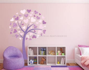 Wall Decal Tree, Baby Wall Decal, Nursery wall decal, Wall Stickers Heart's Tree