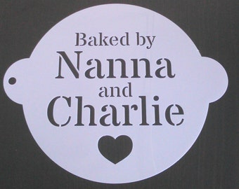 19cm 'BAKED BY...' Personalised Cake Stencil Heart Design with Any Name(s)