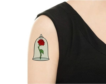 "TEMPORARY TATTOO -  Beauty and the Beast ""Enchanted Rose"" Or ""Mrs. Potts"""