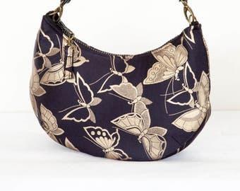 Vintage Japanese Silk Obi Hobo Bag/ Crescent Bag / Handbag/ Shoulder Bag(Gold butterfly on black)/ Authentic Japanese Silk 100 % Fabric