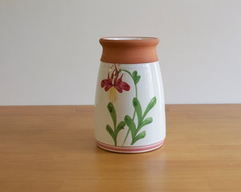 Vintage Floral Clay Vase - Spring Decor - Hand painted Vase