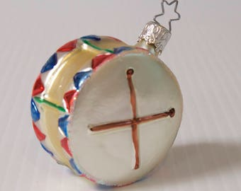 Vintage Drum Ornament -  Mouth Blown and Hand painted ornament by Inge Glas