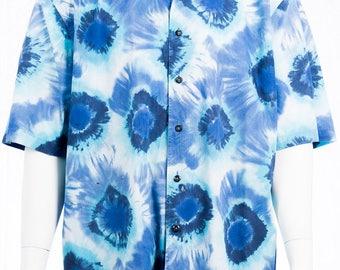 Vintage batik shirt of the 90s - vintage 90s mens shirt - vintage shirt size XXL - vintage hippie look - blue white batik - Festival look