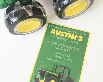 "Tractor   John Deere   Green & Yellow   Birthday Party   Invitation   5""x7""   Customizable"