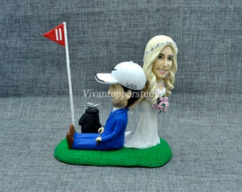 Golf Cart Wedding Cake Topper,Personalized Toppers,Funny Cartoon, Bride & Groom Figurines, Engagement,Bride Dragging Groom Cake Topper,Clay