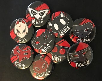 Persona 5 -- Phantom Thieves of Hearts Pinback Buttons