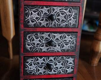 5 Drawer Satanic Sigil of Baphomet Pentagram Hand Made Altar Trinket Stash Keepsake Jewelry Box