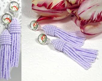 Bead tassel earring Wedding lavender earring Floral stud earring Flower post earring Seed bead earring Bead dangle earring Beaded jewelry