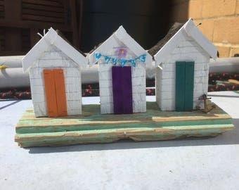 Beach decor, seaside art, beach huts on driftwood, bathroom art, coastal decor, driftwood art, rustic home decor, handmade, unique gifts