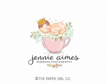 newborn photography logo baby logo design boutique logo design premade logo design photo prop logo design crown logo design teacup logo