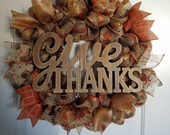 Give Thanks Wreath! Limited Quantities Available!!! Thankgiving Wreath, Fall Wreath, Fall Decor, Give Thanks, Thanksgiving Decor