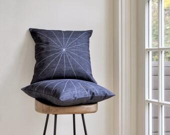 Geometric pillow cover – minimal star pattern – 18x18 – white stitching on black denim