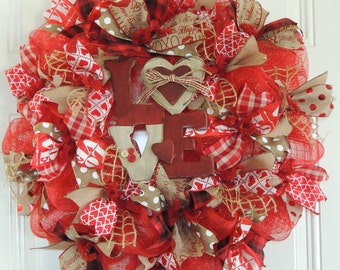 Valentine Burlap Wreath, Burlap Valentine Wreath Love Valentine's day Wreath, Front door wreaths, Door Hanger Decor