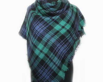 Plaid Fall Scarf, Blue Blanket Scarf, Valentines Day Gift for Her, Womens Scarves, New Mom Gift, Wrap Shawl, Autumn Scarf, Teacher Gift