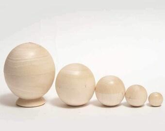 Blank Unpainted Ball nesting doll matryoshka - kod534p