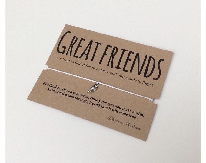 Great Friends Wish Bracelet | Birthday Gift | Charm Bracelet & Card. Can be personalised. Friends bracelet