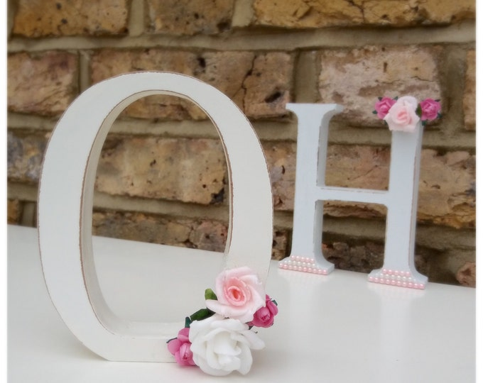 Letters | Free standing floral embellished, Home Decor. Pearls & flowers. Wedding decor | discount for 4+ letters.