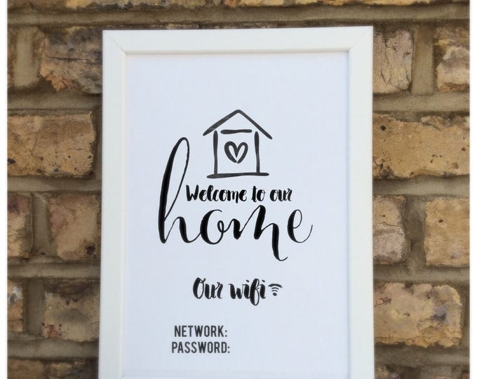 Welcome to our home wifi customisable print | Wall prints | Wall decor | Home decor | Print only | Typography