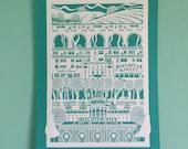 A3 Brighton Print, Brighton, digital print, Brighton papercut, brighton pier, brighton pavilion, royal pavillion