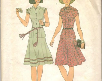 1970s Vintage Simplicity Sewing Pattern 7481 Misses Two-Piece dress Size 12