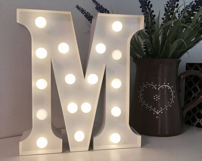 Vintage Carnival Style Marquee Light, Light up Letter M - Battery Operated/Various Colours - Perfect Night Light/Gift/Wedding Decor