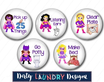 Chore Magnets Chart Magnets, Kids Chore Magnets, Kids Chart Magnets, Fridge Magnets Chore Magnets, Superhero Chore Magnets, Supergirl