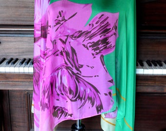 Diaphanous floral wrap, floral scarf, emerald green floral scarf