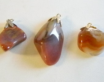 Brown Rust Natural Color Rock Pendants Necklace - Set of 3