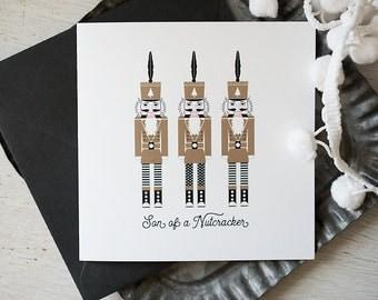 Christmas Card, Holiday Humor, Funny Holiday Card, Nutcracker Greeting, Etsy Holiday, Nutcracker Lover, Christmas Mail, Metallic Holiday
