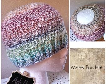 Messy Bun Hat Rainbow