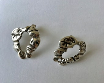 Silver earrings with pin