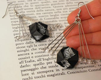 Black earrings - Origami pops in a triangle shape - RavaPops Collection