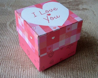 DIY Gift Box Template Red I Love You Heart Pattern PDF Instant Download