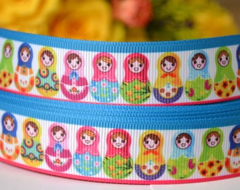 2m Russian Dolls, Matryoshka Printed Grosgrain Ribbon, Hair Bows Ribbon, 22mm