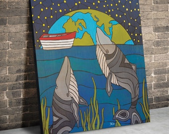 Night Whales. Original Acrylic painting on 24 x 24 inch deep wood panel. Ready to hang. No frame required. Original painting by Shanni Welsh