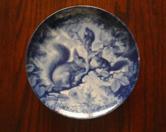 Blue China West Germany Squirrel Scene Mothers Day Plate