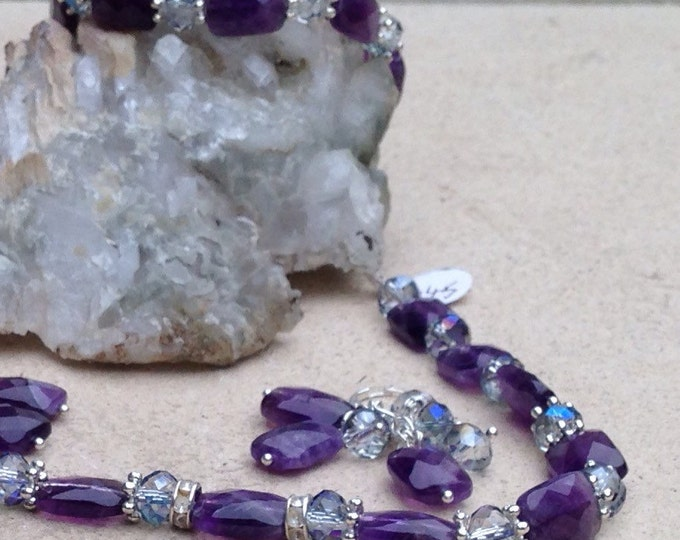 Amethyst jewellery set, amethyst & Swarovski crystal, amethyst and silver, amethyst necklace, amethyst earrings, amethyst bracelet, jewelry