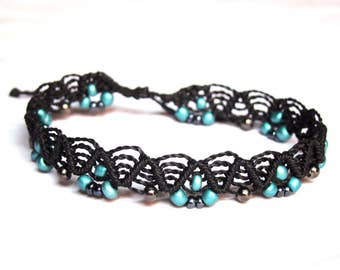 Macrame anklet, black with turquoise beads - adjustable beaded wavy ankle bracelet - mediterranean beach tribal gypsy fancy anklet