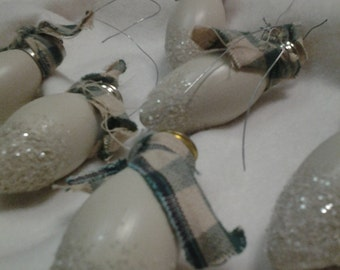 Hand painted creme decorative vintage bulbs