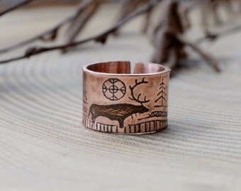Copper ring, Deer in forest, Men Etching band, Divergent ring, Fantasy, Fairytale illustration, Rock paintings, Primitive painting ring