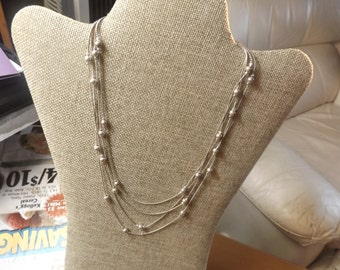 Liz Claiborne Multi tier silver necklace Vintage