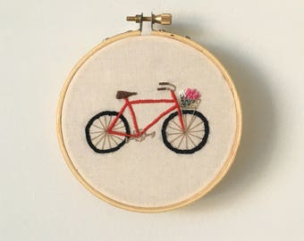 Red bicycle embroidery