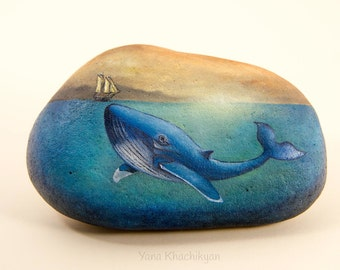 Blue whale (Original oil painting on a stone). Free shipping