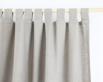 Tab Top Linen Curtain Panel / NATURAL LINEN / homey style / linen drapes