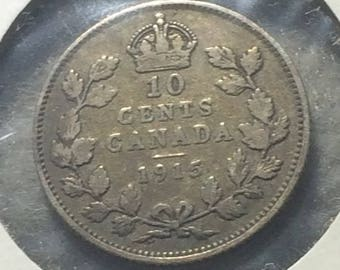 1915 Canada Dime in Very Fine Condition