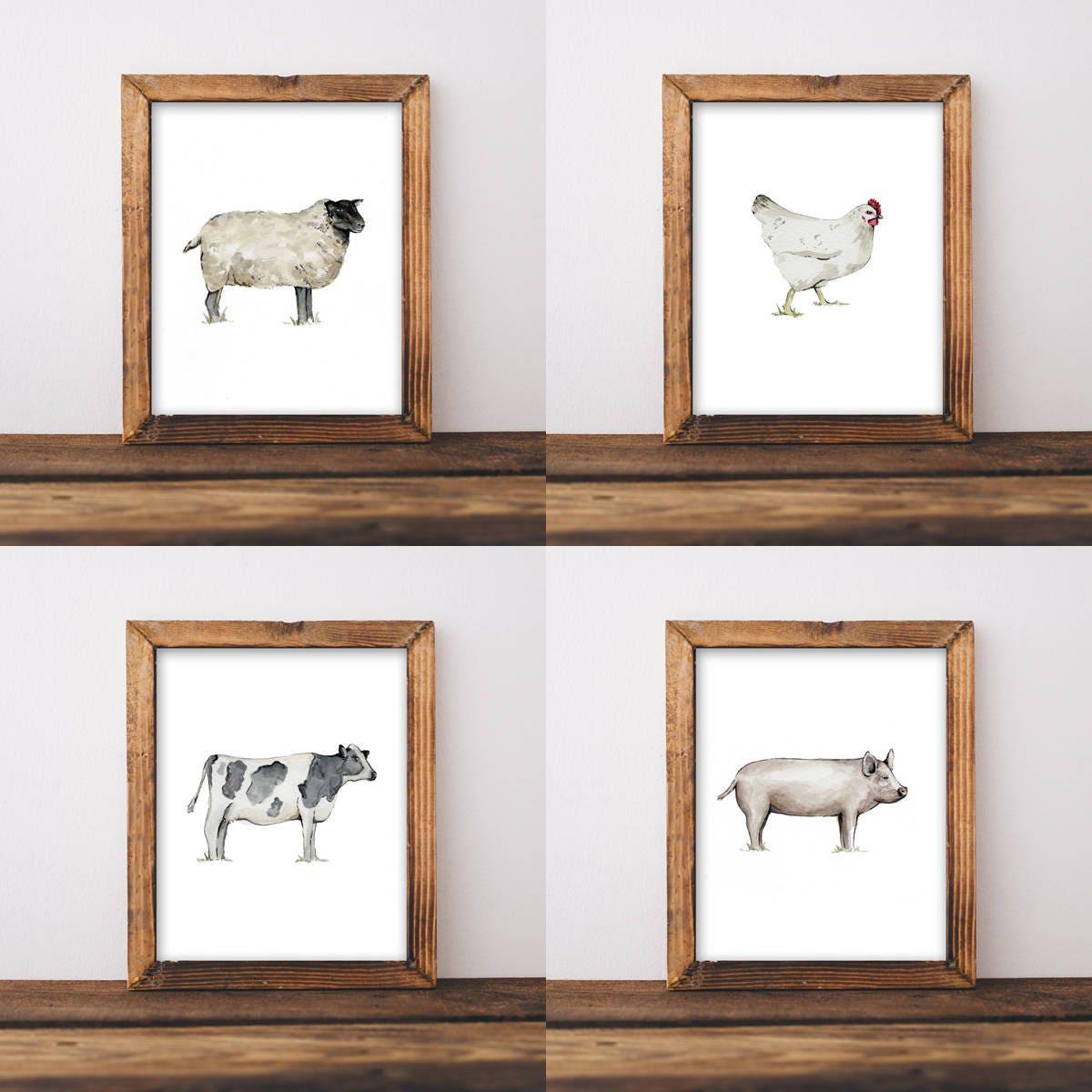 Farmhouse Wall Art Nursery Shabby Chic Animal Room Decor Farm Painting Chicken Cow Pig Sheep 8x10