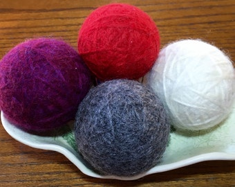 Felted Wool Dryer Balls, Set of 4 - Purple, Red, Ivory and Gray