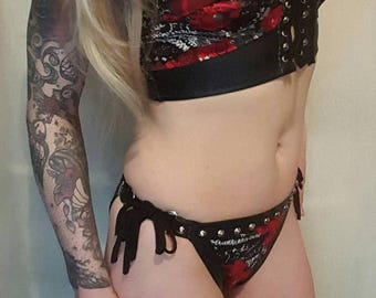 Printed and faux leather studded bikini set UK size 8-10-12